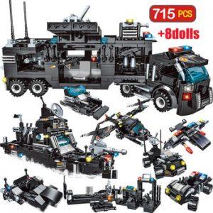 715pcs City Police Station Car Building Blocks For City SWAT Team Truck House Blocks Technic Diy Toy For Boys Children