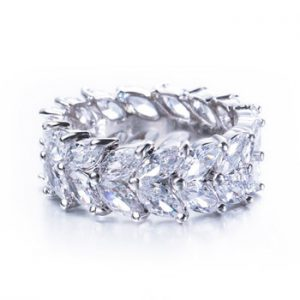 CWWZircons Brilliant White Gold Color Marquise Cut Olive Branch Big Cubic Zirconia Wedding Bands Ring for Women Jewelry R033