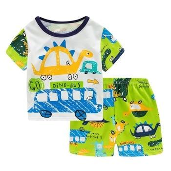 SAILEROAD Children Excavator Pajamas For Boys New Summer Cotton Pyjamas Set Kids Pijama Short Sleeve Home Wear Sleepwear Suits
