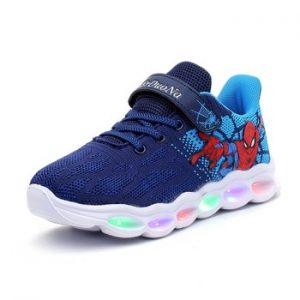 2020 Spiderman princess led shoes kids shoes girls children boys light up luminous sneakers glowing illuminated lighted lighting