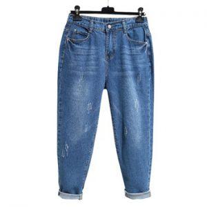 Harem jeans woman high waist loose plus size blue  pocket Ankle-Length denim  pant 6XL
