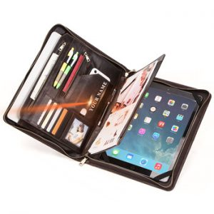 """CONTACT'S FAMILY Retro Padfolio Cow Leather Case for iPad Pro 12.9"""" 2020 Journal Document A4 Portfolio bag For 13.3"""" Macbook Air"""