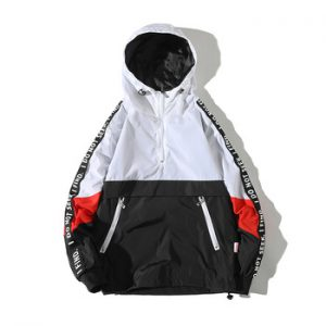 Una Reta Hooded Jackets Men New Patchwork Color Block Pullover Jacket Fashion Tracksuit Coat Men Hip Hop Streetwear Jacket Men