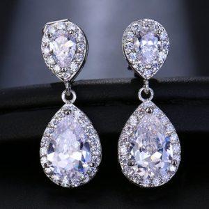 LXOEN Fashion Jewllery Drop Zircon Clip Earrings Without Piercing Puncture Earring for Women Wedding Jewelry Water Drop