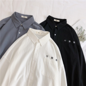 LAPPSTER Mens Korean Fashions Shirts long sleeve 2020 Mens Harajuku White Embroidery Cotton Shirts Male button up shirt Shirt