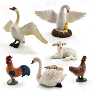 Little Lamb Swan Cock Hen Animal model Rooster Chicken sheep figurine home decor miniature fairy garden decoration accessories