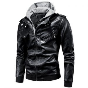 Ucrazy Men 2020 Spring Casual Motor Hooded PU Leather Jackets Coat Men Autumn Outwear Fashion Punk Style Hat Leather Jacket Men