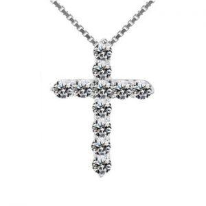 YANHUI Have Certificate 100% Original 925 Solid Silver Wedding Necklace For Women Cross Zirconia Diamond Pendant Necklace PN10