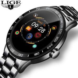 LIGE 2020 New steel smart watch men  smart watch sport For iPhone Heart rate blood pressure Fitness tracker Creative smartwatch