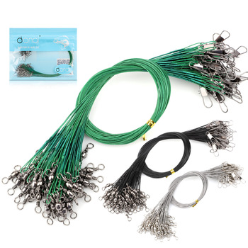 DONQL 60pcs Anti Bite Fishing Lines Steel Wire Leader With Fishing Swivel Connector 12-30cm Lead Core Leash Fishing Wire