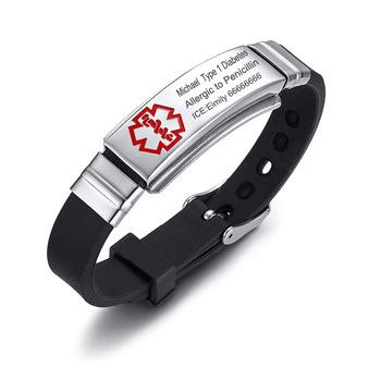 Engraving Custom ICE Text Name Medical Alert Bracelet Women Emergency Remind Jewelry
