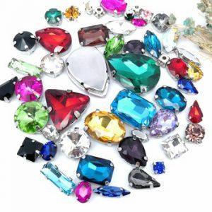 25IZES 58PCS 10SHAPE Free shipping! Mix shape MIX size Glass Crystal sew on rhinestones with silvery claw Diy wedding dress