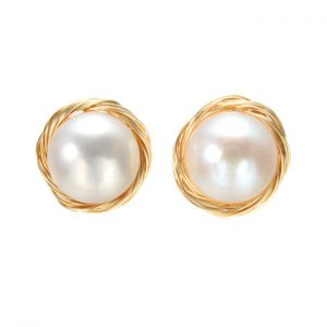 Coeufuedy Classic Big Pearl Stud Earring Baroque Freshwater Pearl Earrings For Women Party Wedding Gift Fine Jewelry Handmade
