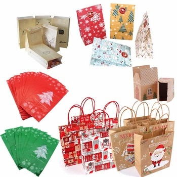 Christmas Paper Gift Box Bags Christmas Decorations for Home Natal Candy Plastic Bag Kerst New Year Supplies Noel