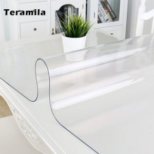 Teramila PVC Transparent Table Cloth Waterproof Oilproof Tablecloth 1.0mm/1.5mm Thick Soft Glass Mat Kitchen Dining Table Cover