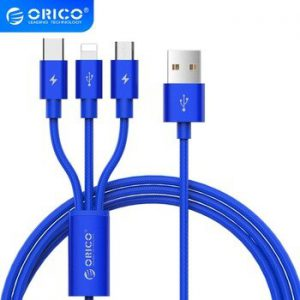 ORICO 3 IN 1 Type C 8Pin Micro USB Cable For iPhone 8 X 7 6 6S Plus iOS 10 9 8 Samsung Nokia USB Fast Charging Cables Cord