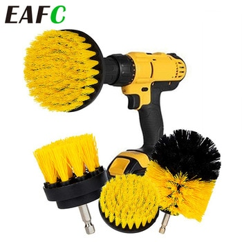 3pcs Electric Drill Brush Nylon Round Cleaning Brush For Bathtub Carpet Glass Tires Toilet Floors Rust Remover Car Cleaner Kit