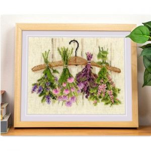Upside down plants and flower cross stitch package 18ct 14ct  light yellow cloth cotton thread embroidery handmade needlework