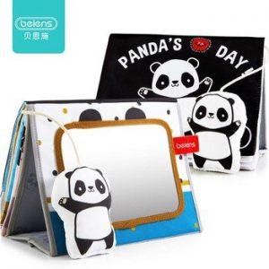 Beiens Baby Books Kids Educational Toys Panda Black and White Soft Cloth Book Toddler Activity Developmental Floor Mirror Book
