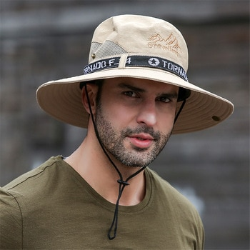 UPF 50+ Summer Hats Men Sun Protector UV-proof Breathable Bucket Hat Large Wide Brim Hiking Outdoor Fishing Beach Cap Cowboy New