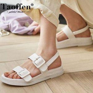 Taoffen Women Real Leather Sandals Designer Metal Buckles Shoes Women Flat Heels Solid Color Casual Lady Footwear Size 34-40