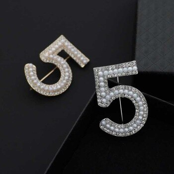 Big Brand Brooches Letter 5 Full Brooches Pins For Women Party Flower Pearl Brooches Jewelry