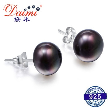 DMEFP151 Black Pearl Studs Earrings 4 Size Black Freshwater Silver 925 Jewelry Exquisite Pearl Earrings For Women Gift