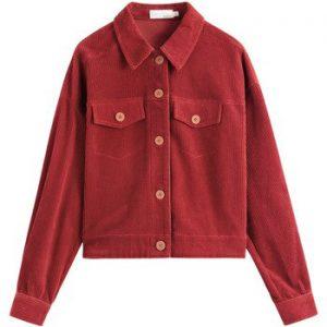 INMAN 2020 Autumn New Arrivals Loose Vintage Hongkong Style Lapel Cotton Pure Color Corduroy Long Sleeve Coat