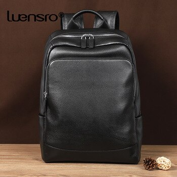2020 New Natural Cowskin 100% Genuine Leather Men's Backpack Fashion Large Capacity Shoolbag For Boy Leather Laptop Backpack Bag