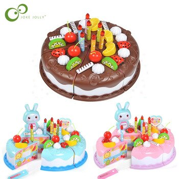 37pcs Protend Play Fruit Cuting Birthday Toy DIY Kitchen Toys Cake Food boys Girls Gift For Children Educational Baby kids ZXH