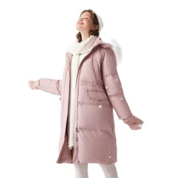 SEMIR 2020 new long down jacket women loose hooded fur collar waist young girl winter down coat for woman outwear