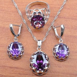 Natural Purple Crystal For Women Wedding Jewelry Costume Jewelry Sets Earrings Ring Necklace Set Anniversary Present JS0166