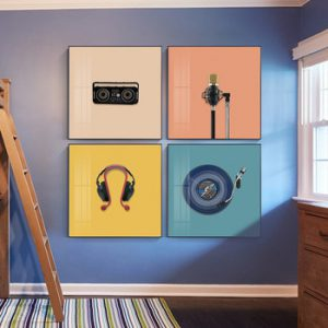 Modern Color Music Elements Wall Art Picture Posters And Prints Microphone Radio Canvas Poster Home Decoretion Painting