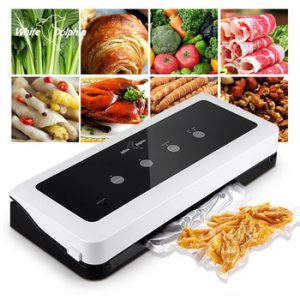 White Dolphin Food Vacuum Sealer Packaging Machine For Kitchen 220V 110V Including 10pcs Food Saver Bags Vacuum Food Sealing