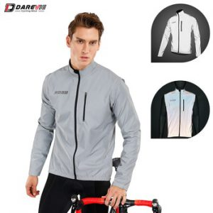 Darevie Cycling Jacket Full Reflective Cycling Jacket Removable Sleeves Cycling Jacket Biking Jacket Men Off Sleeve Cycling Vest