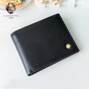 LAORENTOU Card Holders Wallets for Men Genuine Leather Men's Short Wallet with Zipper Pocket Standard Wallet Credit Cards Slot