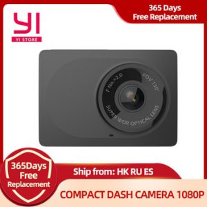 YI Compact Camera  Car Recorder 1080p Full HD Cam Dash board with 2.7 inch LCD Screen 130 WDR Lens G-Sensor Night Vision Black