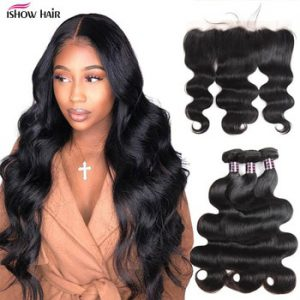 Ishow Body Wave Bundles with Frontal HD Lace Frontal and Bundles Cheap Human Hair Bundles with Frontal 3 Bundles with Closure