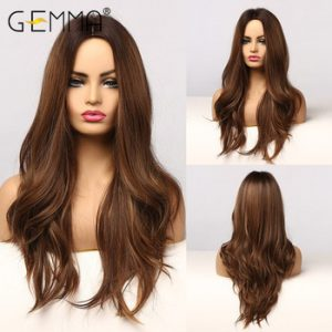 GEMMA Natural Middle Part Synthetic Wig Long Wavy Ombre Black Brown Golden Cosplay Wigs with Highlight for Black Women Fake Hair