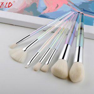 FLD 7Pcs Colorful Makeup Brushes Set Crystal Blush Brush Set Eyeliner Powder Foundation Fan Face Eye Make Up Brushes Set