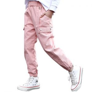 Girls Sport Pants Solid Color Cargo Pants For Girls Autumn Winter Children Pants Teenage Girls Clothes 6 8 10 12 14