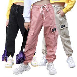 Spring Kids Girls Cotton Sport Pants Casual Camouflage Printed Teenage Girls Cargo Pants Children Trousers Beam Foot Pants Pink