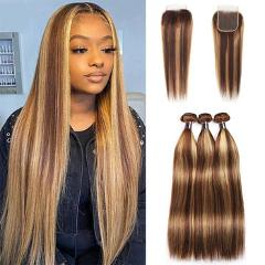 Ishow Highlight Ombre Bundles With Closure Brazilian Bone Straight Bundles With Closure Brown Human Hair Bundles With Closure