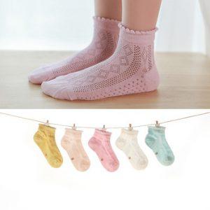 5Pairs/lot Baby Socks Summer Spring Thin Mesh Cotton Kids Socks Lovely Girls Lace Socks Colorful Children Socks
