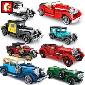 Sembo Blocks Antique Cars Vintage City Model Buliding Kit Moc Speed Champion Creator Set Classic Vehicle Supercar Race Technique