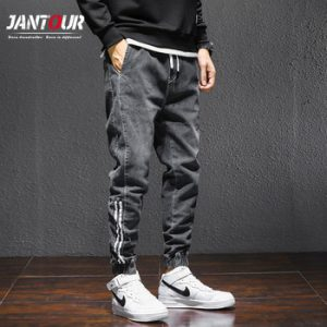 2021 New Baggy Men's Cargo Jeans Fashion Kpop Clothes Harlan Jeans Streetwear Harajuku Pants Joggers Elastic Waist Jeans Male