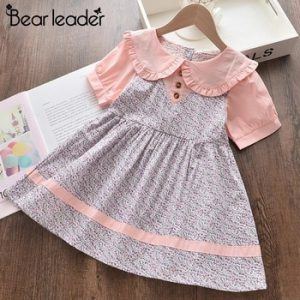 Bear Leader Girls Flowers Dresses New Summer Kids Girl Floral Sweet Dress Party Costume Children Cute Outfits Baby Vestidos 2 6Y