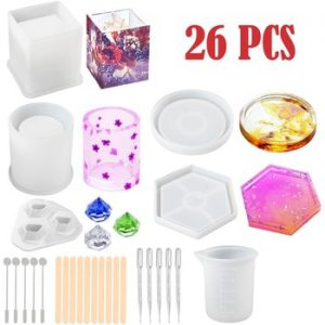 Silicone Mold Epoxy Resin DIY Pen Container Organizer Square Round Storage Holder Silica Molds Crafts Jewelry Making Charms UV R