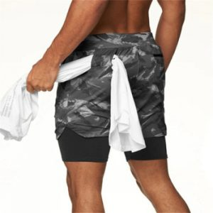 2021 NEW Running Shorts camouflage Double-deck Shorts Fitness Quick Dry gyms Shorts Jogging Workout Shorts Men Sport Short Pants