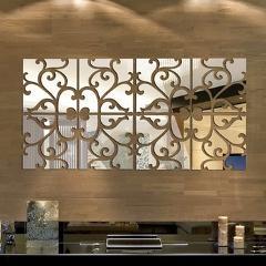 32pcs 3D Mirror Wall Sticker Acrylic Modern Home Decoration Wall Decor Mirror Wall Stickers DIY poster Stickers Silver/Golden